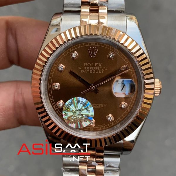 Rolex Datejust Diamond Chocolate Two Tone Replika Saat ROLDJ028