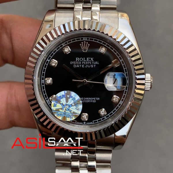 Rolex Datejust Diamond Silver Replika Saat ROLDJ007