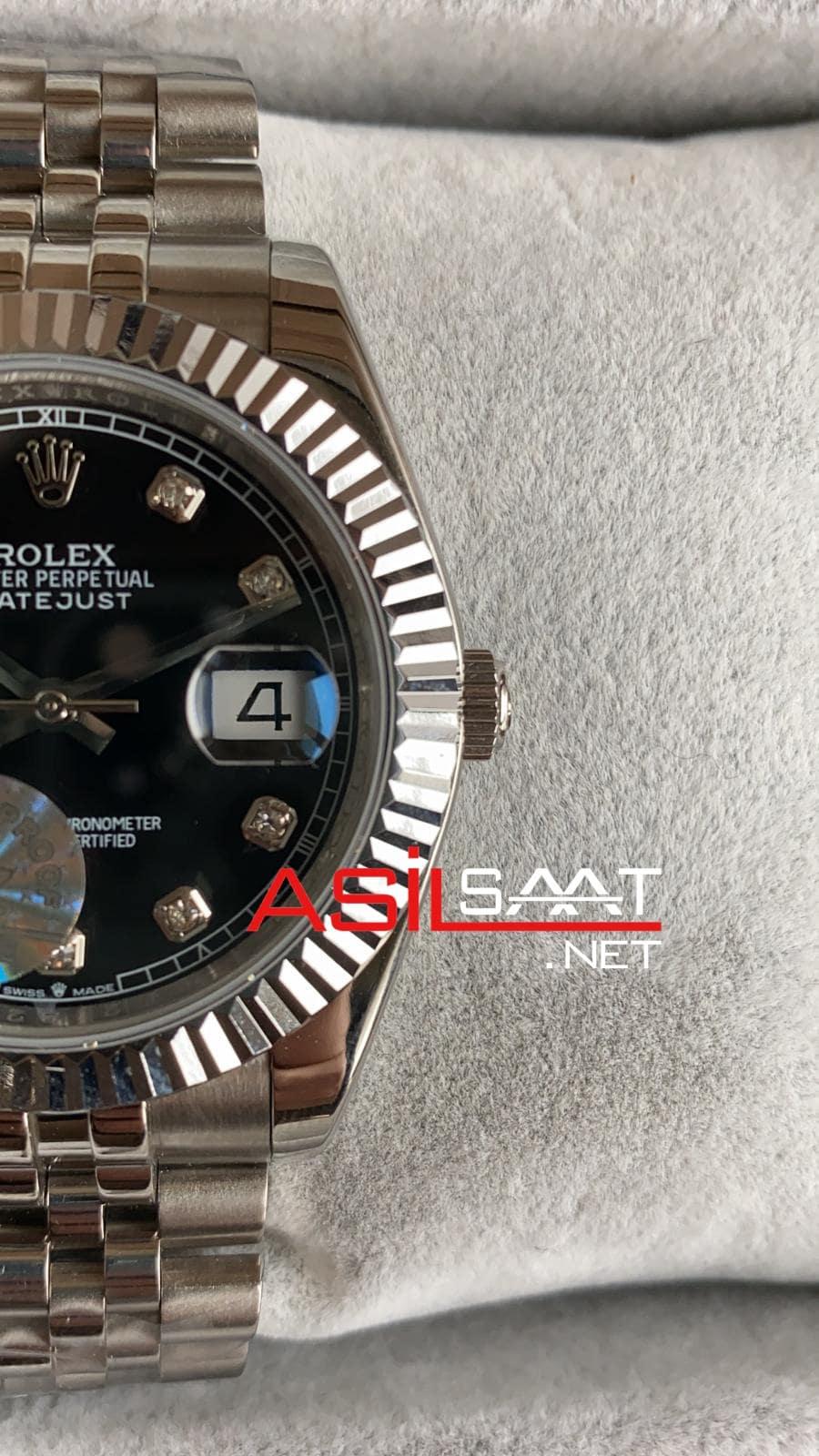Rolex Datejust Diamond Silver Replika Saat ROLDJ007