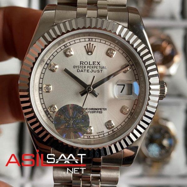 Rolex Datejust Diamond Silver Replika Saat ROLDJ009