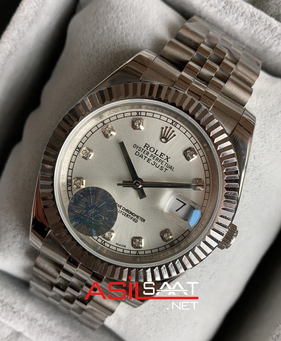 Rolex Datejust Diamond Silver Replika Saat ROLDJ009