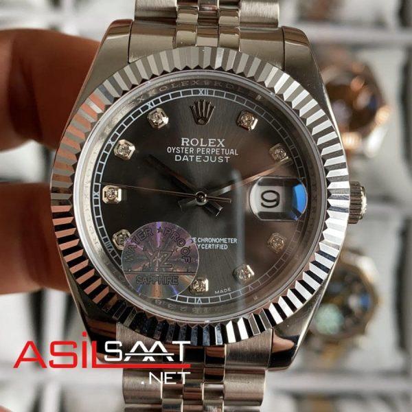 Rolex Datejust Diamond Silver Replika Saat ROLDJ010