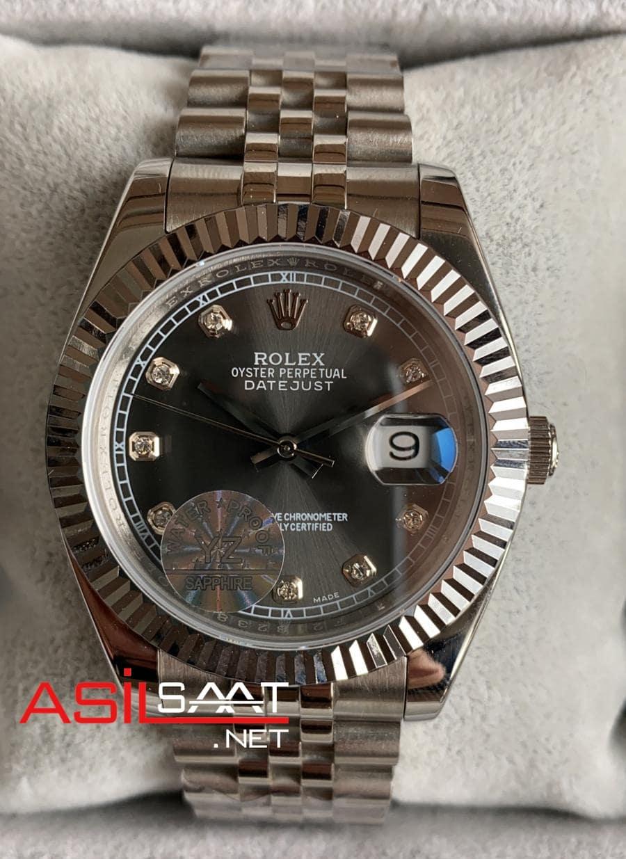 Rolex Datejust Diamond Silver Replika Saat ROLDJ010