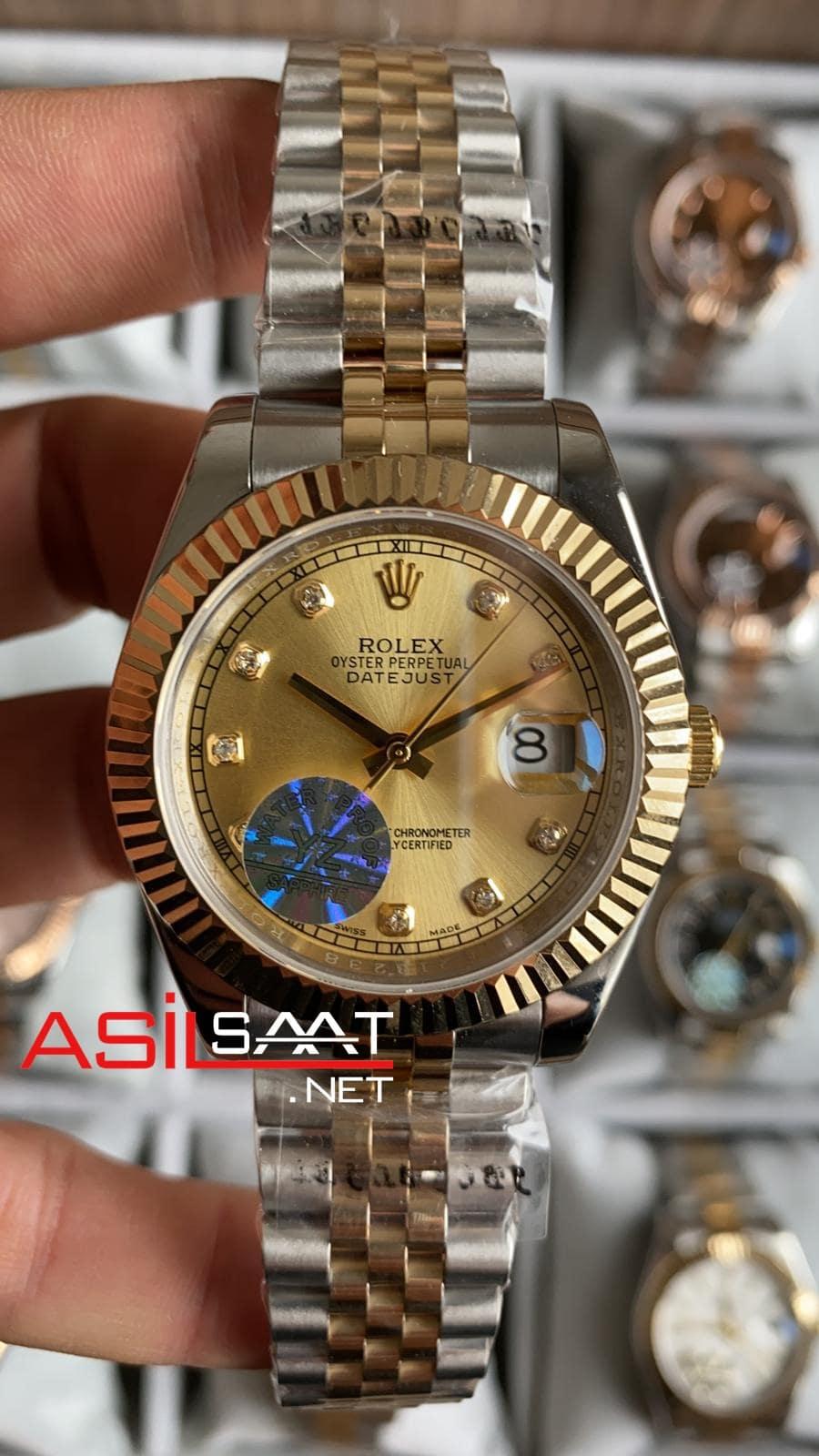 Rolex Datejust Diamond Two Tone Replika Saat ROLDJ023