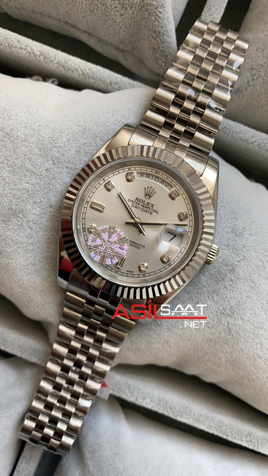 Rolex Day-Date Diamond Silver Replika Saat ROLDD011