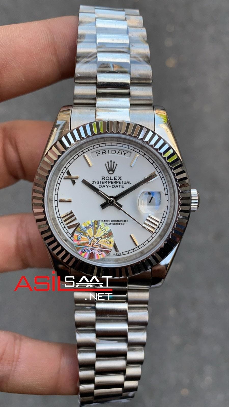 Rolex Day-Date Silver Replika Saat ROLDD002