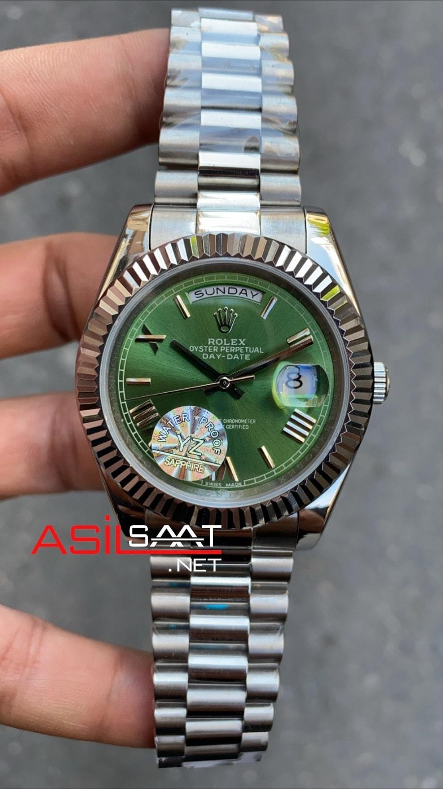 Rolex Day-Date Silver Replika Saat ROLDD004