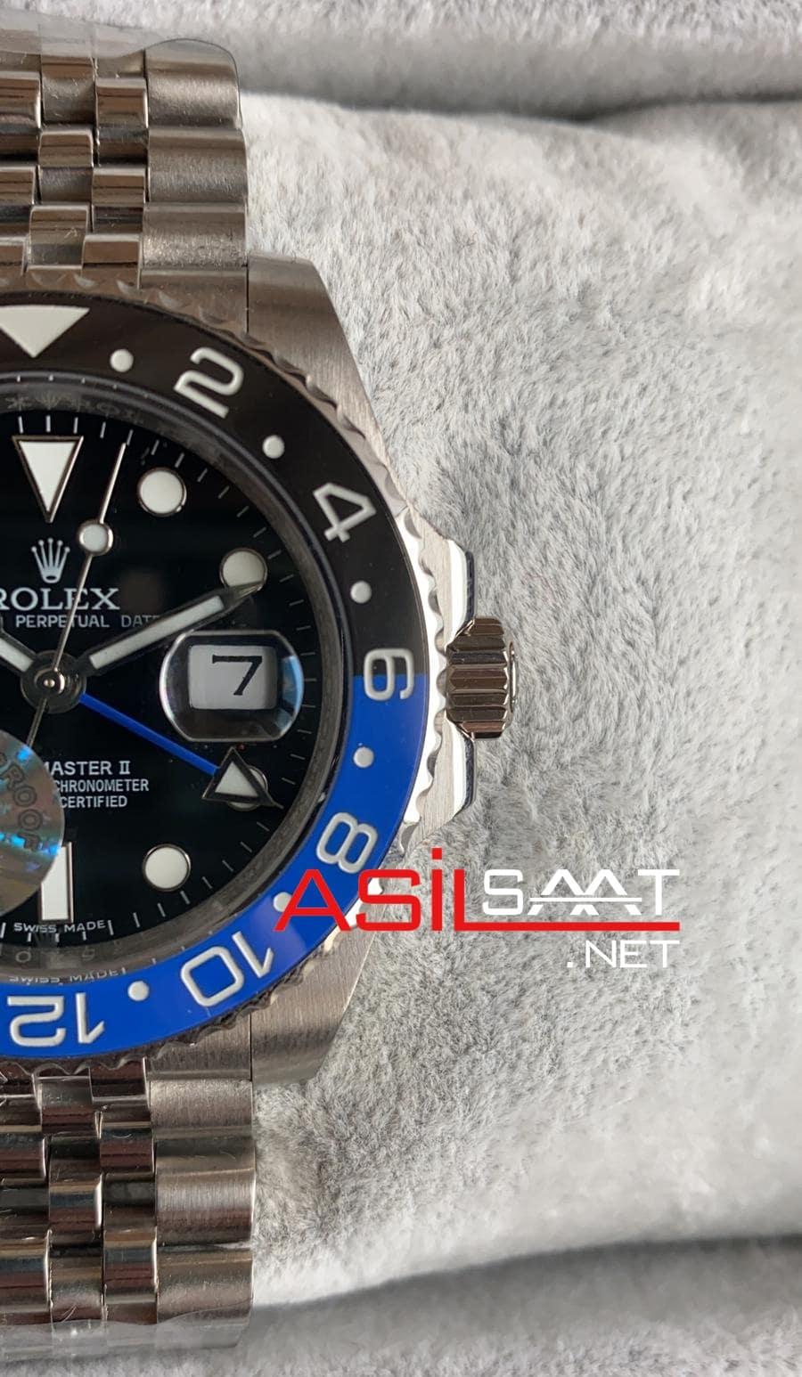 Rolex Jubilee Oyster Perpetual Gmt Master II Batman Silver Replika Saat ROLG007