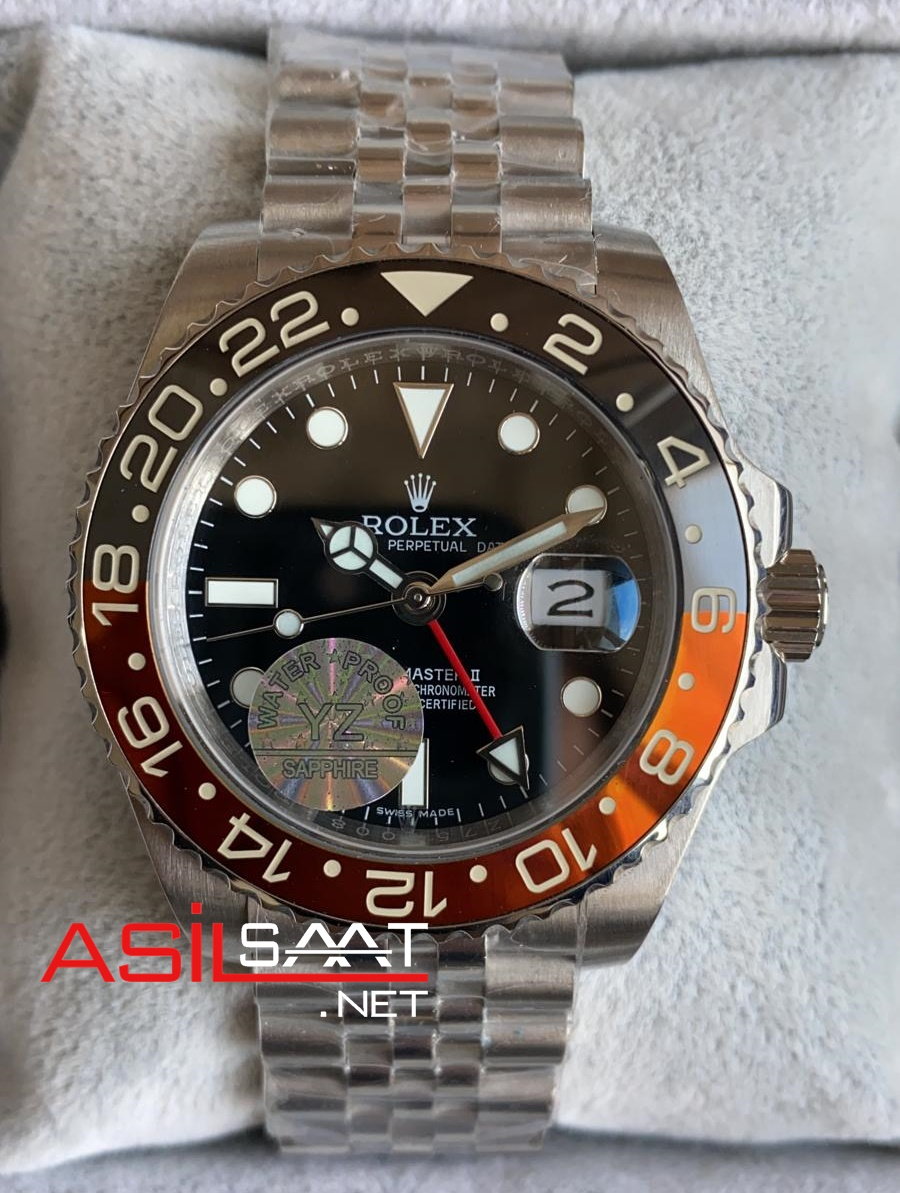 Rolex Jubilee Oyster Perpetual Gmt Master II Coca Cola Silver Replika Saat ROLG014
