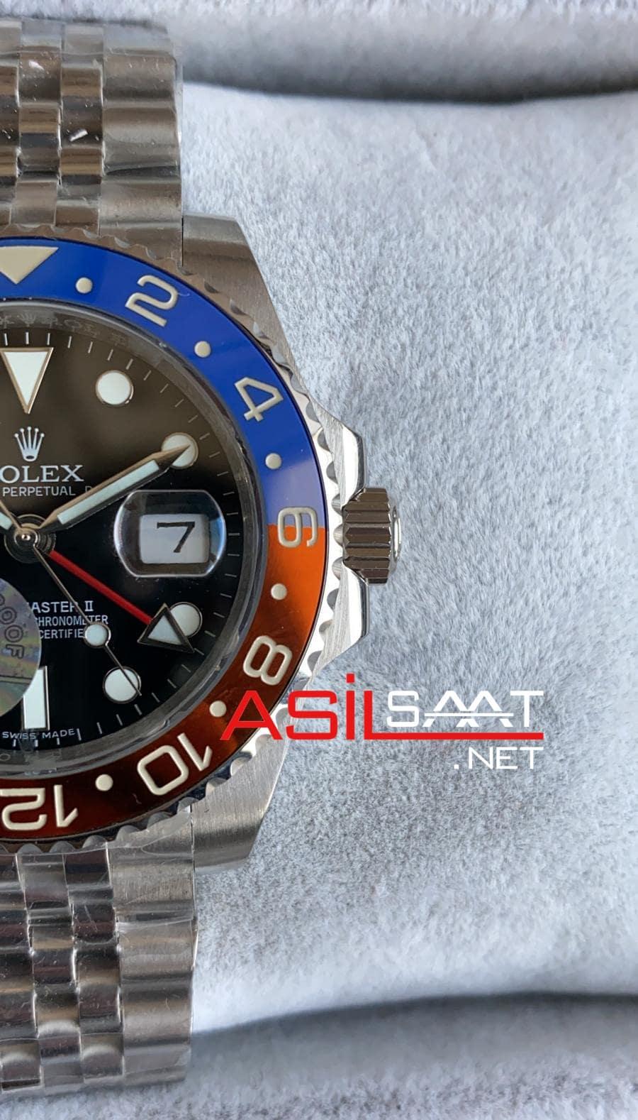 Rolex Jubilee Oyster Perpetual Gmt Master II Pepsi Silver Replika Saat ROLG010q