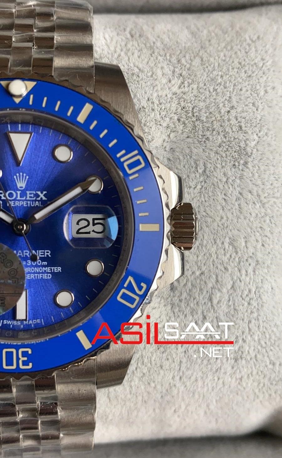 Rolex Jubilee Oyster Perpetual Submariner Smurf Silver Replika Saat ROLS018