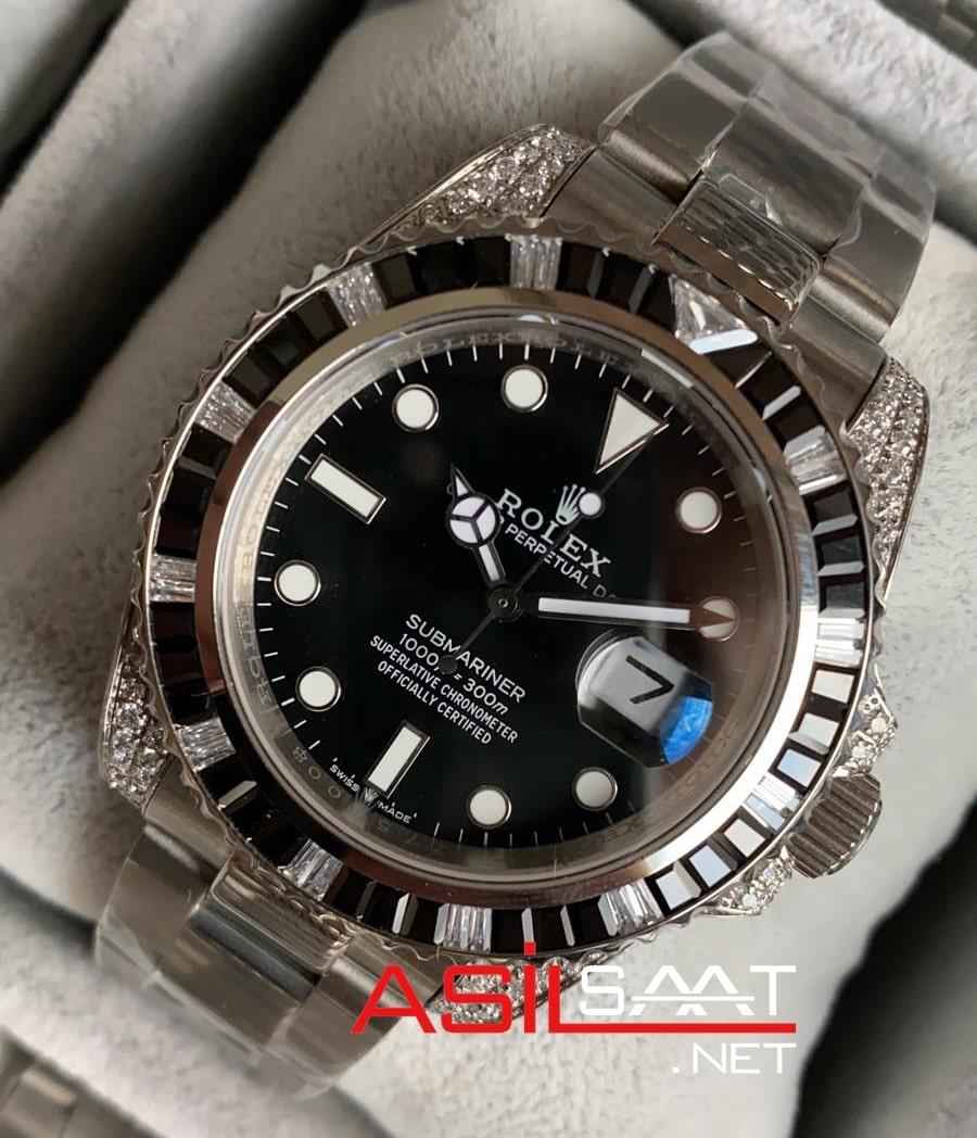 Rolex Oyster Perpetual Bezel Diamond Submariner Silver Replika Saat ROLS019