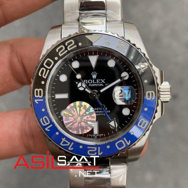 Rolex Oyster Perpetual Gmt Master II Batman Silver Replika Saat ROLG008