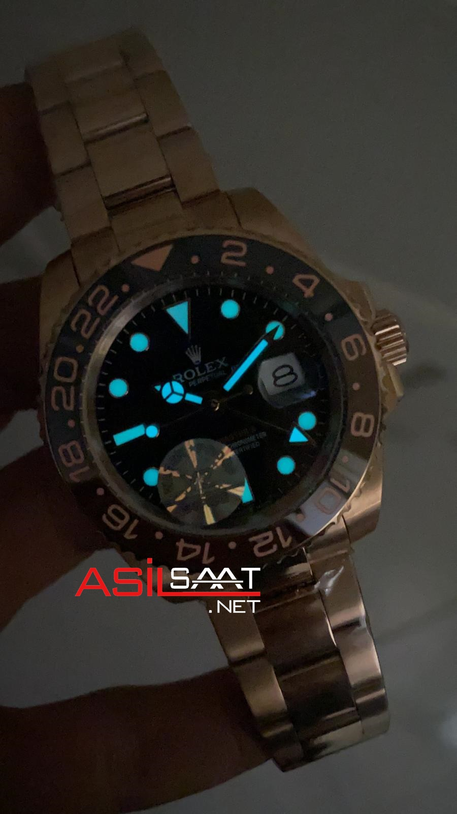 Rolex Oyster Perpetual Gmt Master II Chocolate Everose Rosegold Replika Saat ROLG017