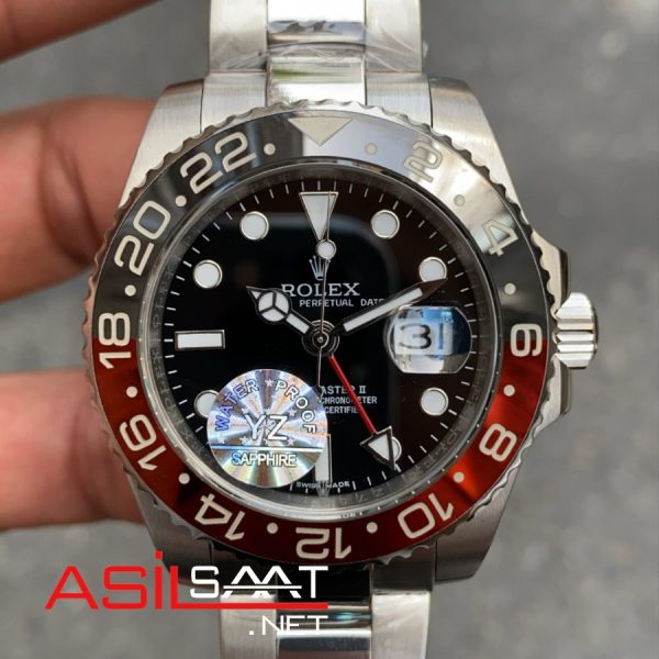 Rolex Oyster Perpetual Gmt Master II Coca Cola Silver Replika Saat ROLG013