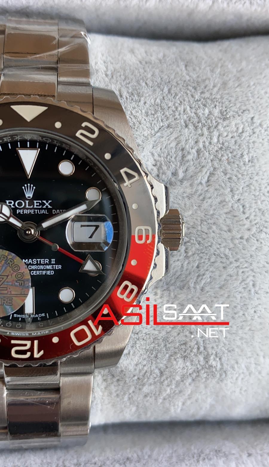 Rolex Oyster Perpetual Gmt Master II Coca Cola Silver Replika Saat ROLG013