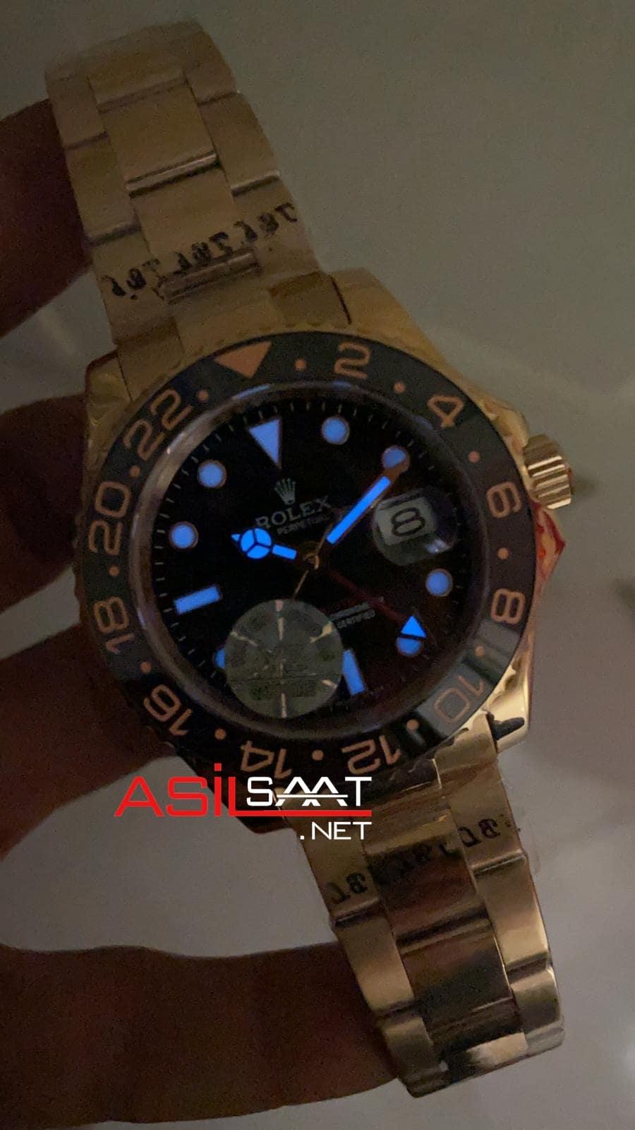 Rolex Oyster Perpetual Gmt Master II Everose Rosegold Replika Saat ROLG005