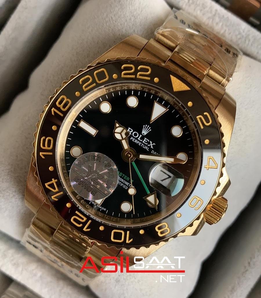 Rolex Oyster Perpetual Gmt Master II Gold Replika Saat ROLG003