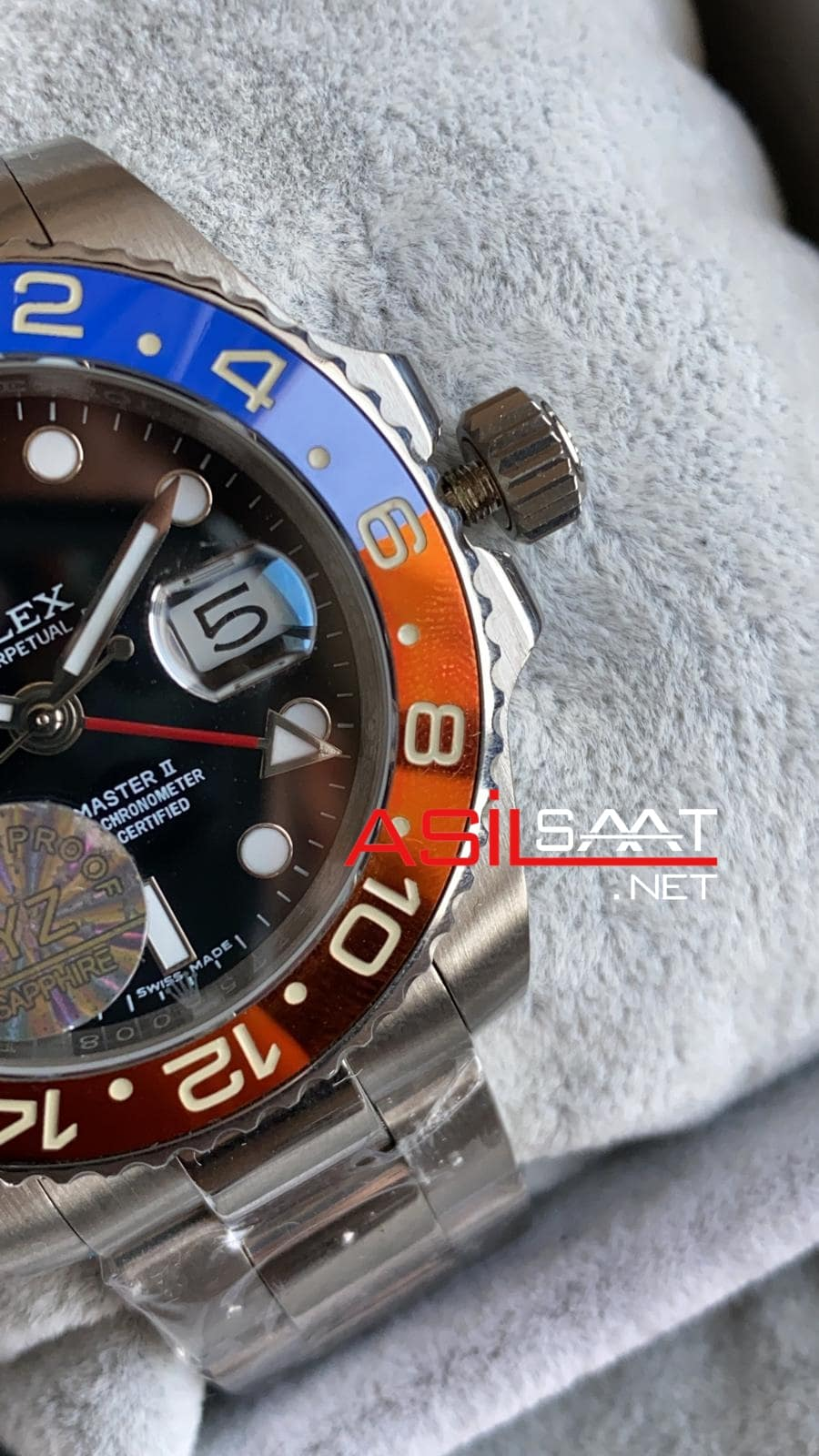 Rolex Oyster Perpetual Gmt Master II Pepsi Silver Replika Saat ROLG011