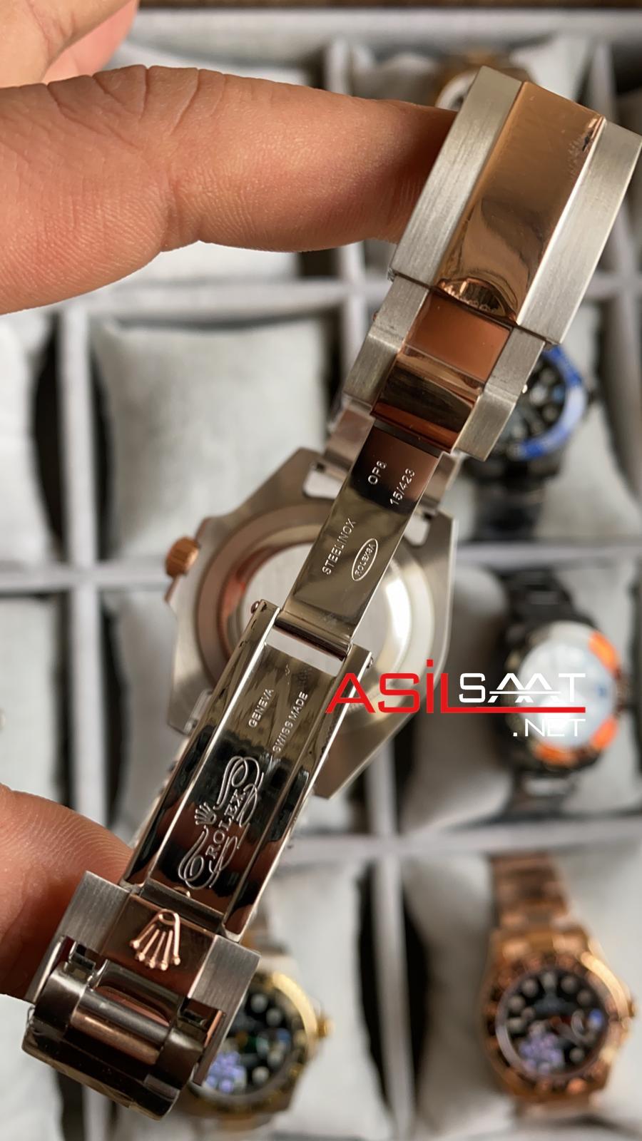 Rolex Oyster Perpetual Gmt Master II Root Beer Two Tone Replika Saat ROLG016