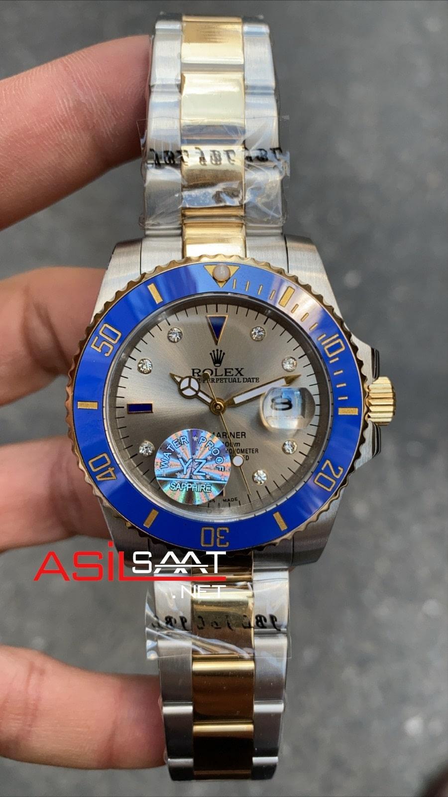Rolex Oyster Perpetual Submariner Dial Diamond Two Tone Replika Saat ROLS009