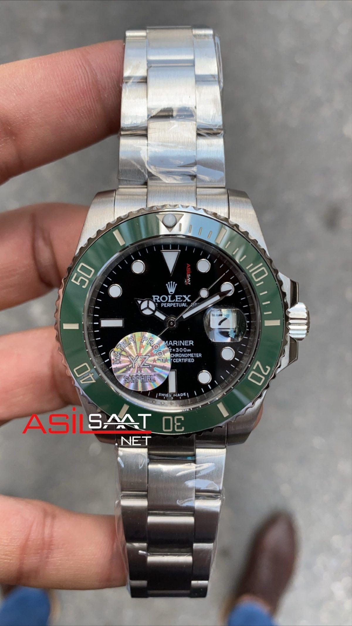 Rolex Oyster Perpetual Submariner Kermit Silver Replika Saat ROLS004
