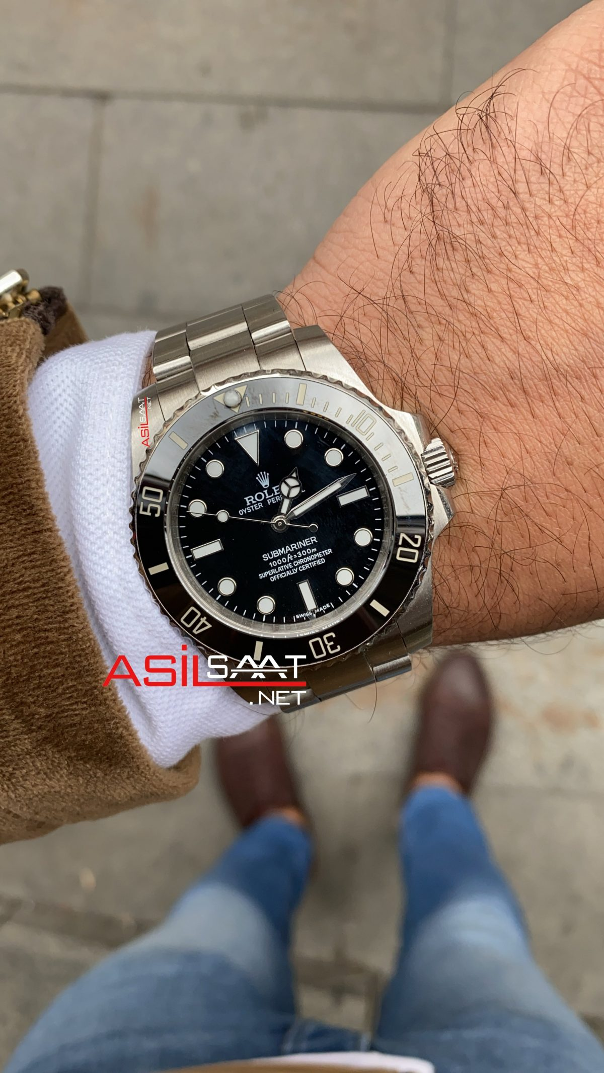 Rolex Oyster Perpetual Submariner No Date Silver Replika Saat ROLS002