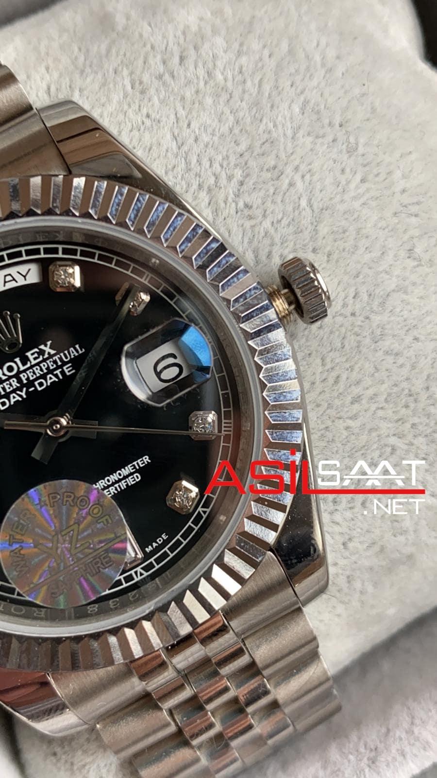 Rolex Day-Date Diamond Silver Replika Saat ROLDD010
