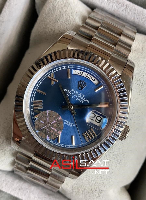 Rolex Day-Date Silver Replika Saat ROLDD003
