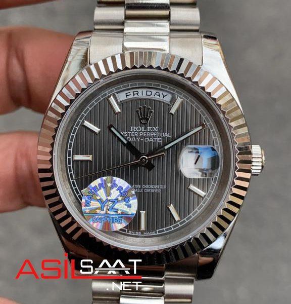 Rolex Day-Date Silver Replika Saat ROLDD007