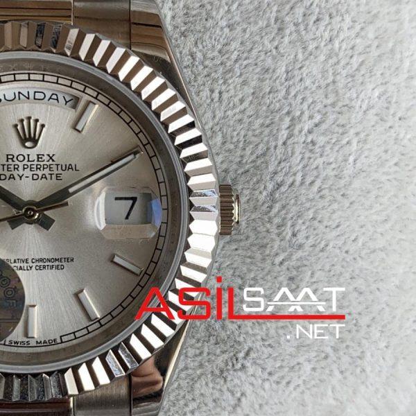 Rolex Day-Date Silver Replika Saat ROLDD008