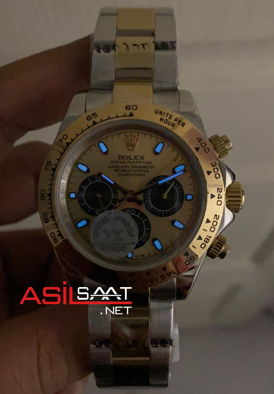 Rolex Oyster Perpetual Cosmograph Daytona Two Tone Silver Gold Replika Saat ROLDA016