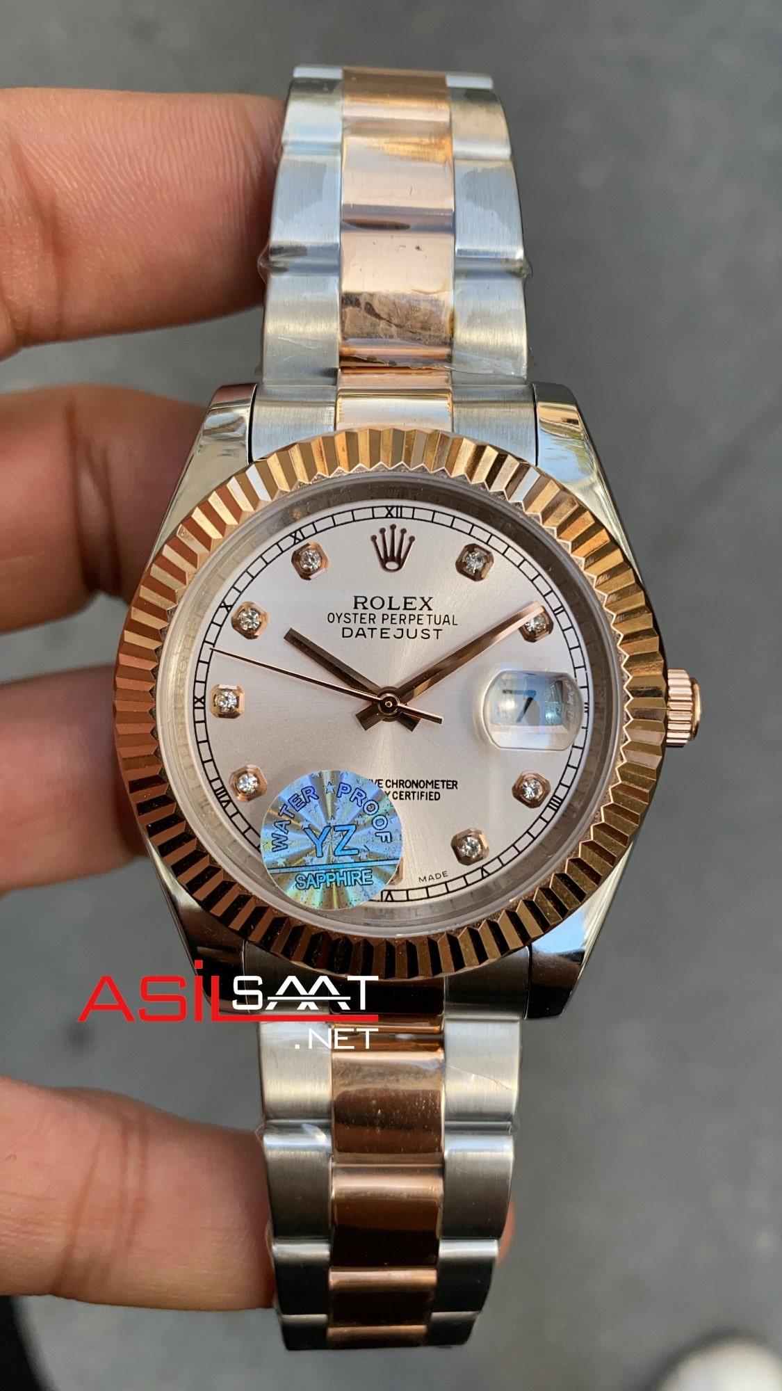 Rolex Datejust Diamond Two Tone Replika Saat ROLDJ031