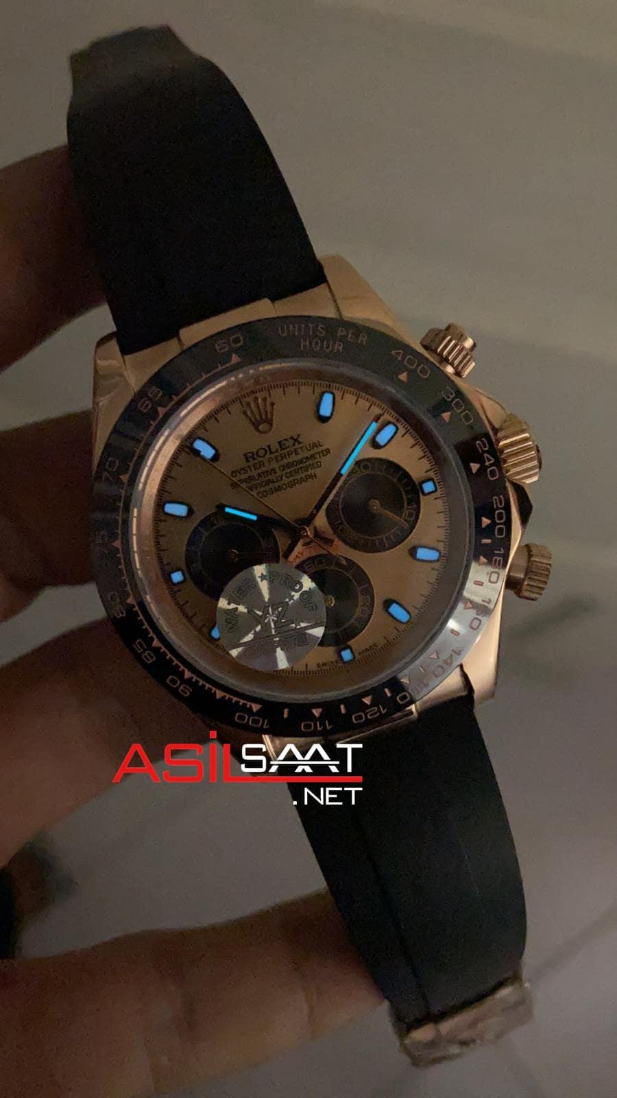 Rolex Oyster Perpetual Cosmograph Daytona Rosegold Black Replika Saat ROLDA027