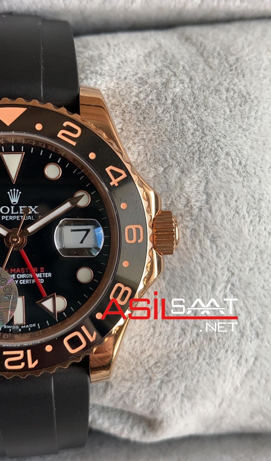 Rolex Oyster Perpetual Gmt Master II Rubber Everose Rosegold Replika Saat ROLG006