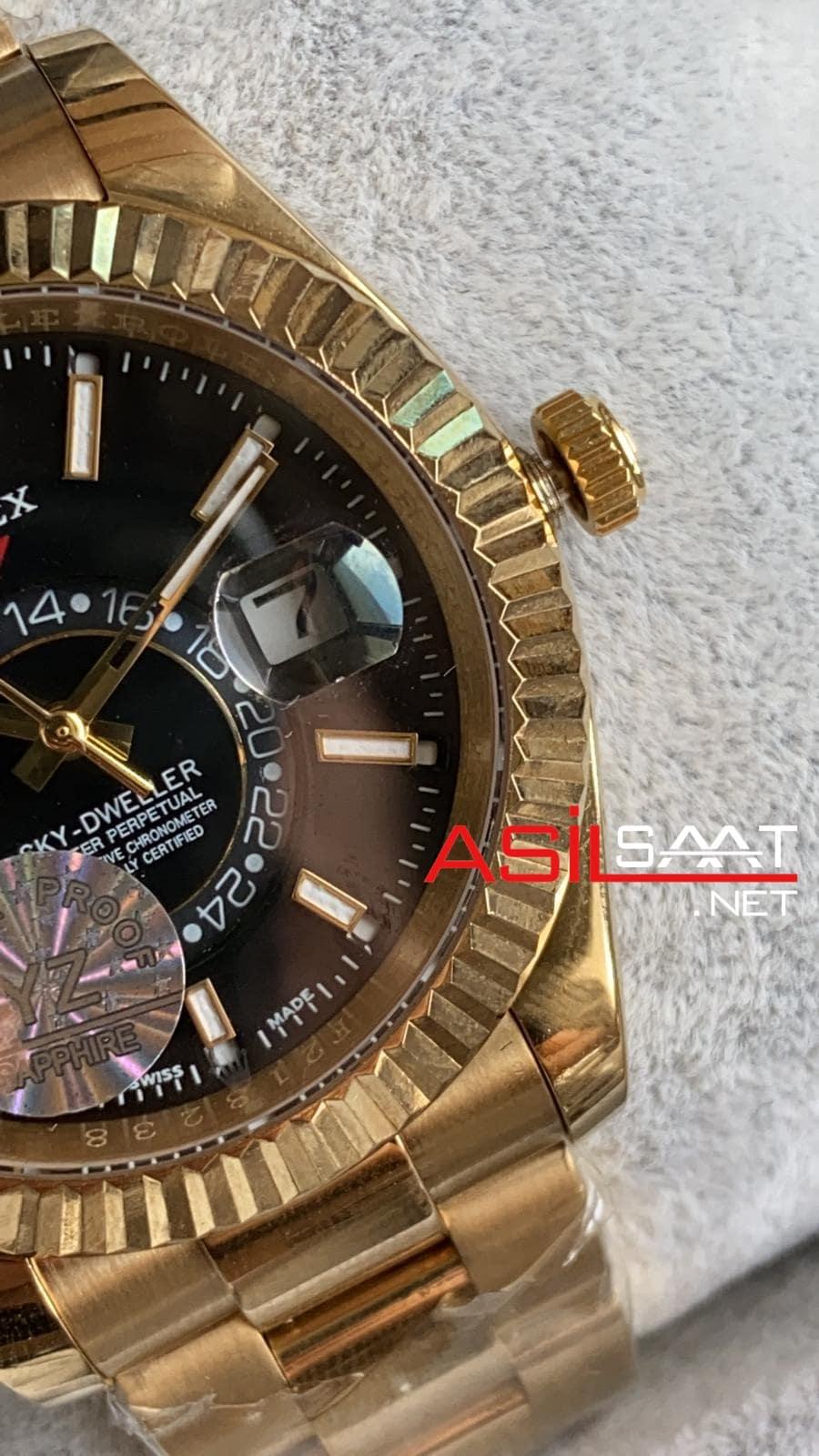 Rolex Oyster Perpetual Sky Dweller Gold Replika Saat ROLSKY010