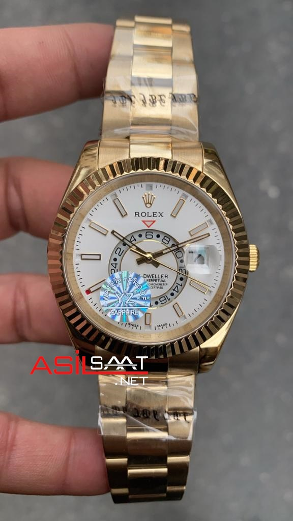 Rolex Oyster Perpetual Sky-Dweller Gold Replika Saat ROLSKY011