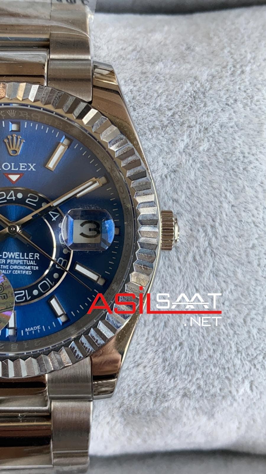 Rolex Oyster Perpetual Sky Dweller Silver Replika Saat ROLSKY003