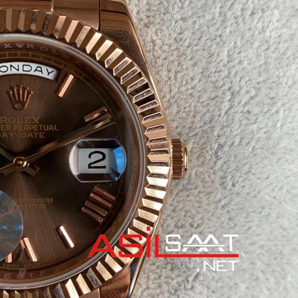 Rolex Day-Date Chocolate Rosegold Replika Saat ROLDD035