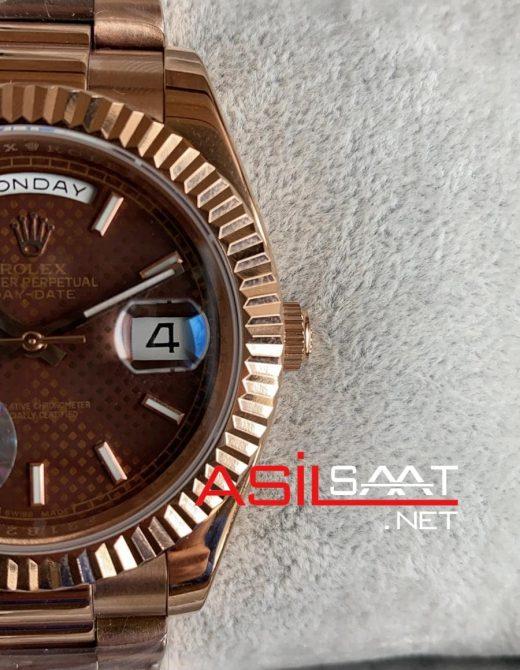 Rolex Day-Date Chocolate Rosegold Replika Saat ROLDD039