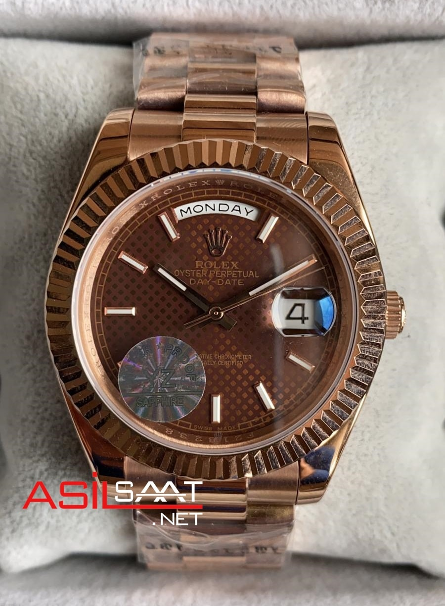 Rolex Day-Date Chocolate Rosegold Replika Saat ROLDD039