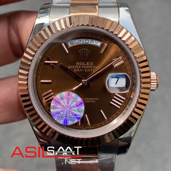 Rolex Day-Date Chocolate Two Tone Replika Saat ROLDD048