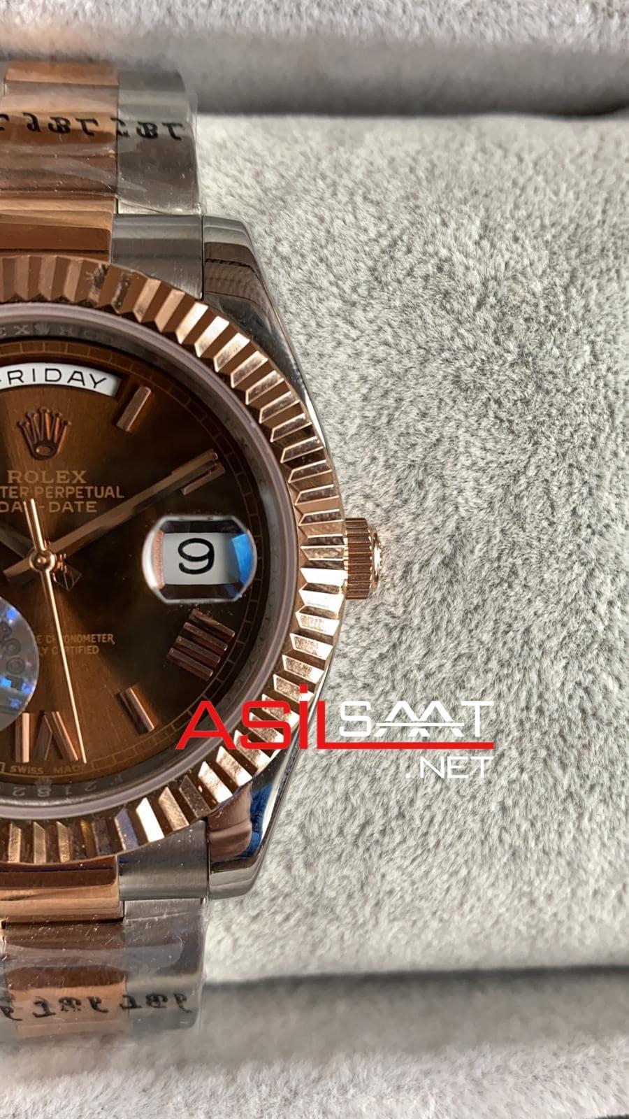 Rolex Day-Date Chocolate Two Tone Replika Saat ROLDD048