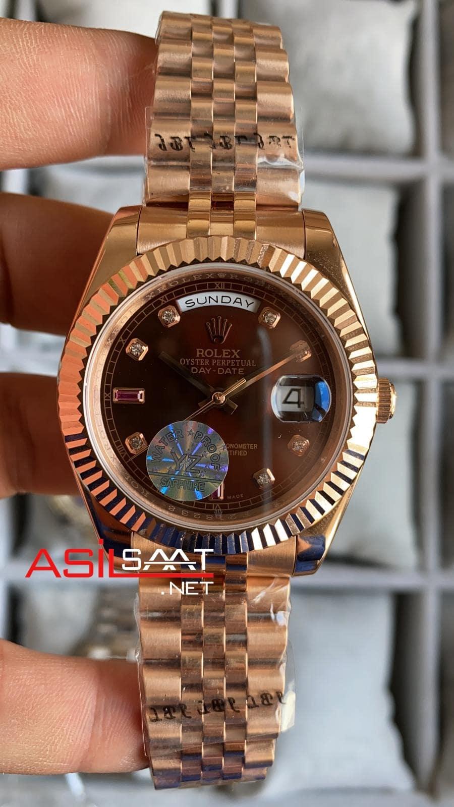 Rolex Day-Date Diamond Chocolate Rosegold Replika Saat ROLDD031