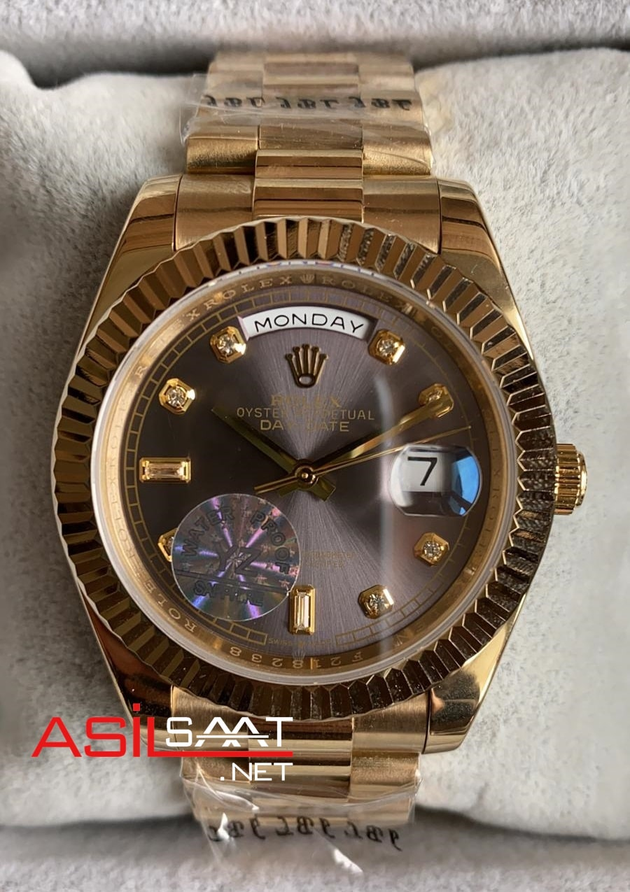 Rolex Day-Date Diamond Gold Replika Saat ROLDD030