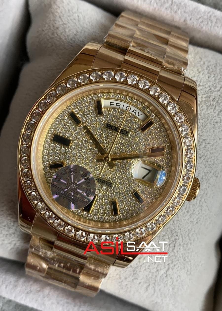 Rolex Day-Date Diamond Gold Replika Saat ROLDD059