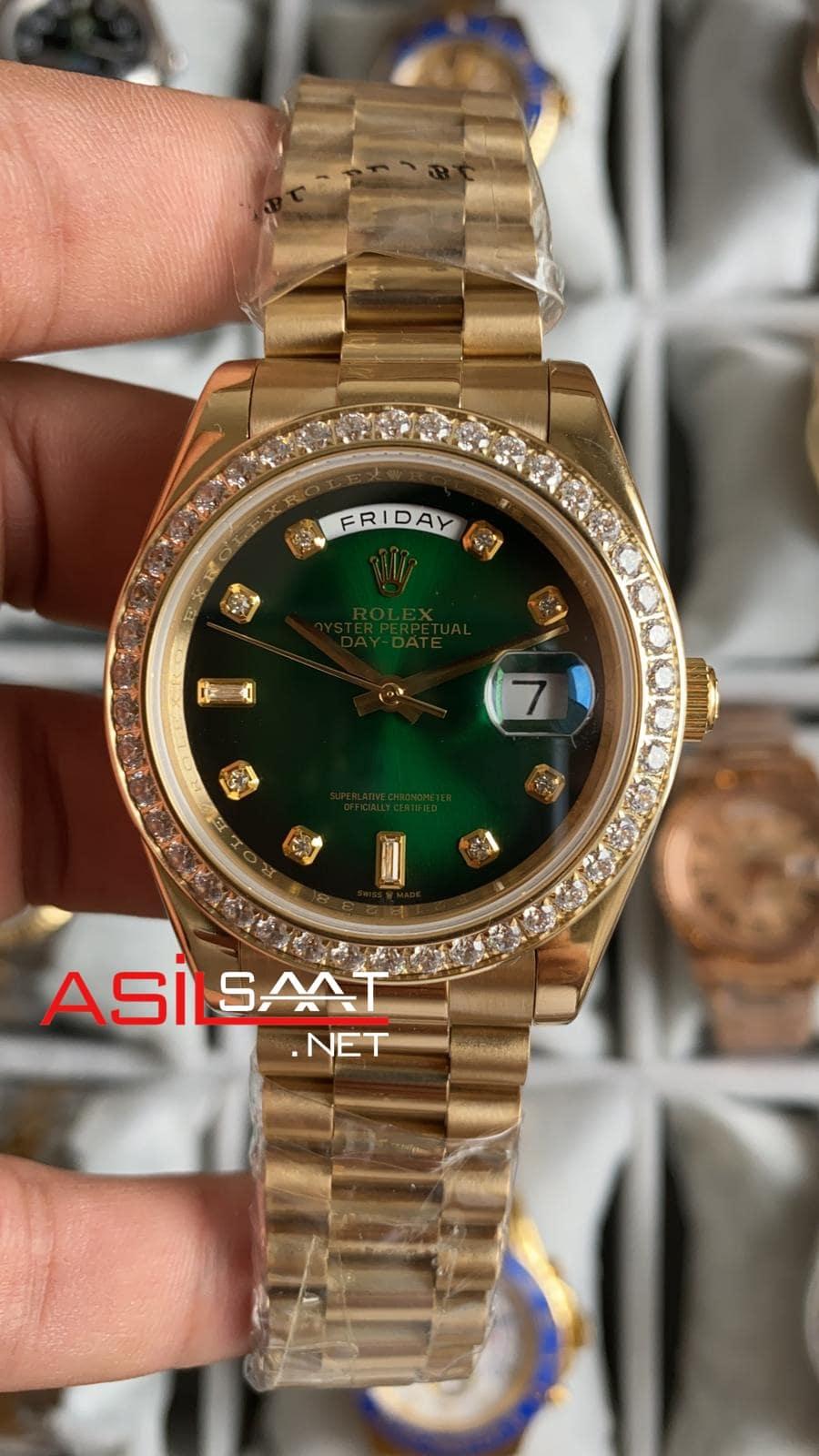 Rolex Day-Date Diamond Gold Replika Saat ROLDD060