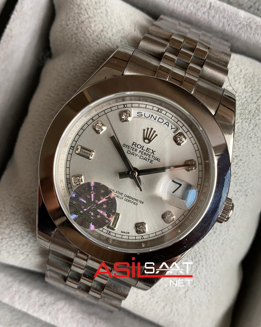 Rolex Day-Date Diamond Silver Replika Saat ROLDD015