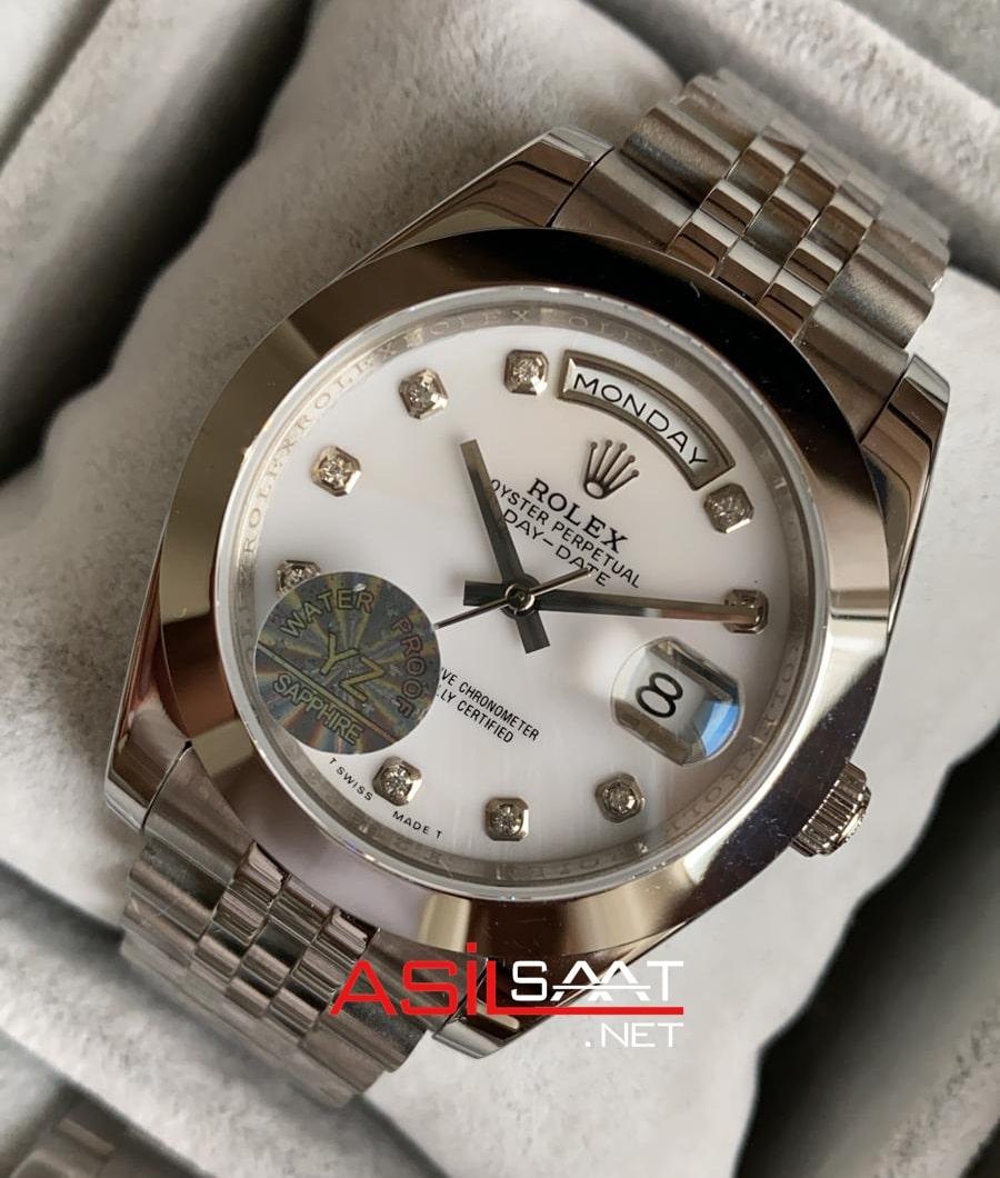 Rolex Day-Date Diamond Silver Replika Saat ROLDD051