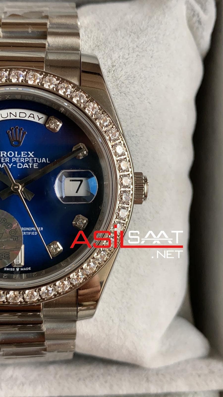 Rolex Day-Date Diamond Silver Replika Saat ROLDD061